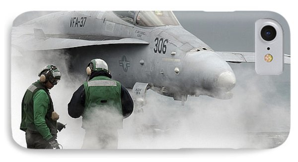 Flight Deck Personnel Are Surrounded Phone Case by Stocktrek Images