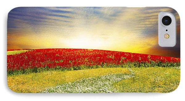Floral Field On Sunset IPhone Case by Setsiri Silapasuwanchai