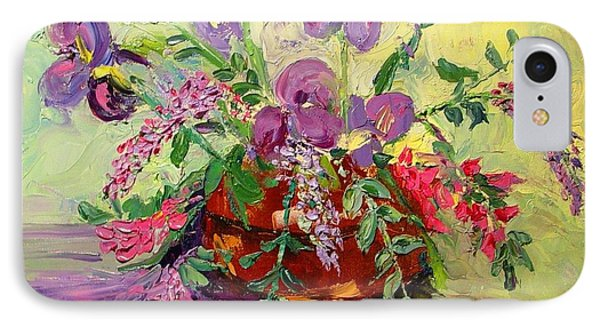 IPhone Case featuring the painting Floral With Knives by Carol Berning