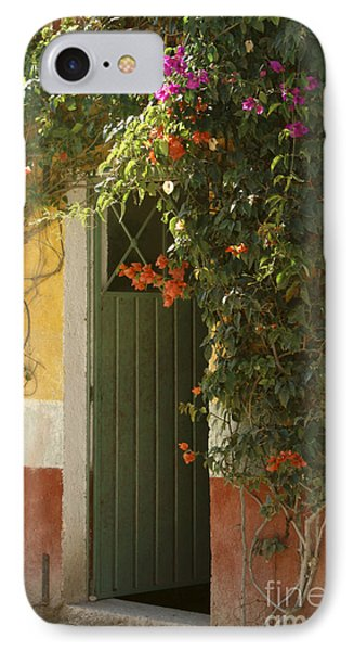 IPhone Case featuring the photograph Flower Bedecked Doorway Mineral De Pozos Mexico by John  Mitchell