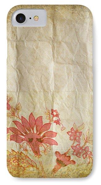 Flower Pattern On Old Paper Phone Case by Setsiri Silapasuwanchai