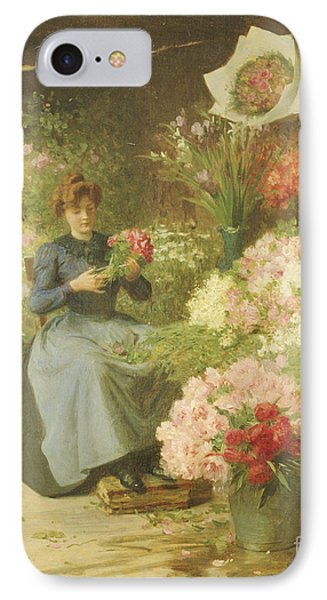 Flower Seller In Front Of The Madeleine Church IPhone Case by Victor Gabriel Gilbert
