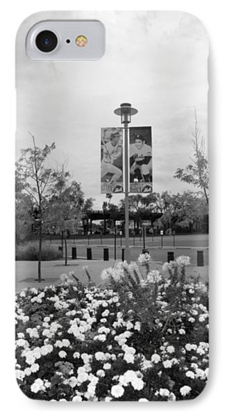 Flowers At Citi Field In Black And White Phone Case by Rob Hans