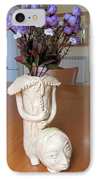 Flowers In My Head  Ceramic Vase Sculpture Of A Lady With A Removable Head Shoulder Pads Hands Face Phone Case by Rachel Hershkovitz