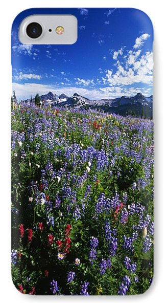 Flowers With Tattosh Mountains, Mt IPhone Case by Natural Selection Craig Tuttle