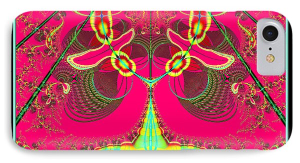 Fluorescent Alien Lady Bug Fractal 70 Phone Case by Rose Santuci-Sofranko