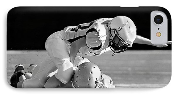 Football In Black And White Phone Case by Susan Leggett