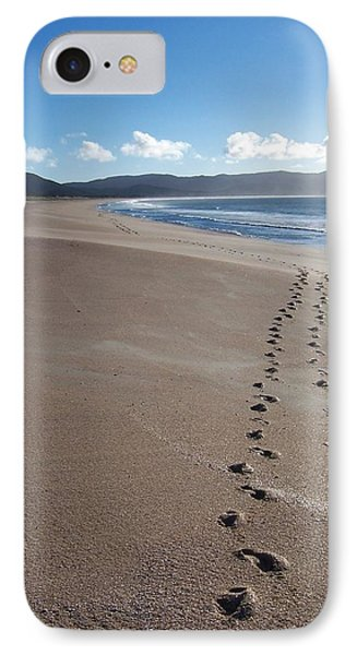 Footsteps In The Sand IPhone Case by Peter Mooyman