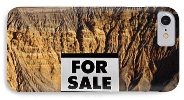 For Sale Sign In Desert Landscape Phone Case by David Buffington