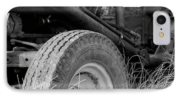 Ford Tractor Details In Black And White Phone Case by Jennifer Ancker