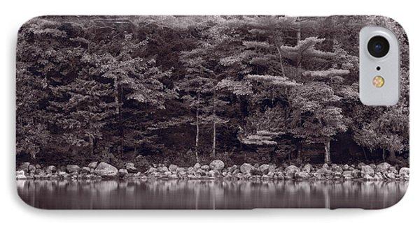 Forest At Jordan Pond Acadia Bw Phone Case by Steve Gadomski