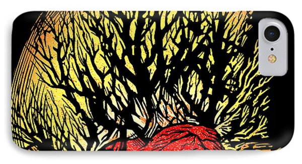 Forest Fire, Lino Print IPhone Case by Gary Hincks