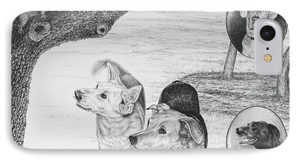 Four Dogs And A Squirrel IPhone Case by Mike Ivey
