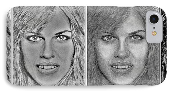 Four Interpretations Of Hilary Swank Phone Case by J McCombie