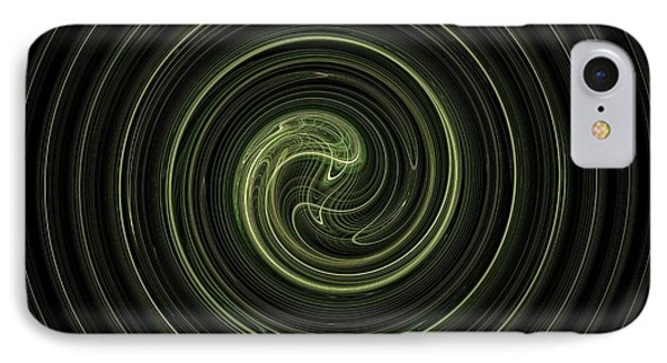 Fractal Green Spiral IPhone Case by Henrik Lehnerer
