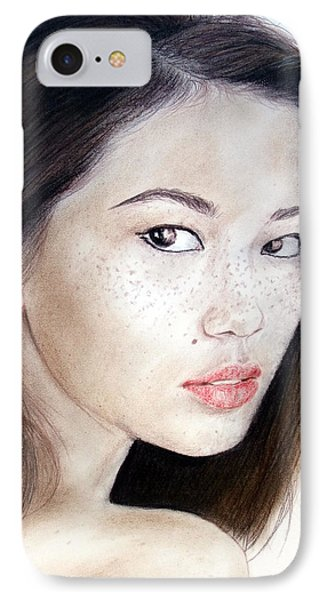 Freckle Faced Asian Model Phone Case by Jim Fitzpatrick