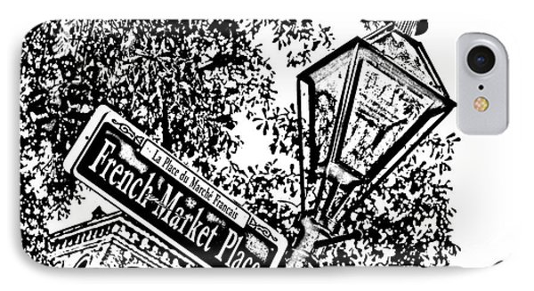French Quarter French Market Street Sign New Orleans Photocopy Digital Art Phone Case by Shawn O'Brien