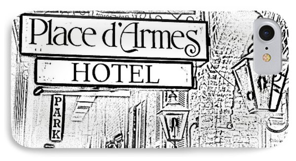 French Quarter Place Darmes Hotel Sign And Gas Lamps New Orleans Photocopy Digital Art Phone Case by Shawn O'Brien