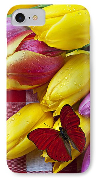 Fresh Tulips And Red Butterfly Phone Case by Garry Gay