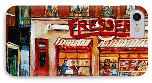 Fressers Deli Decarie Boulevard Montreal City Scenes Phone Case by Carole Spandau