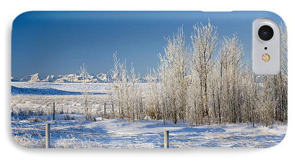 Frost-covered Trees In Snowy Field Phone Case by Michael Interisano