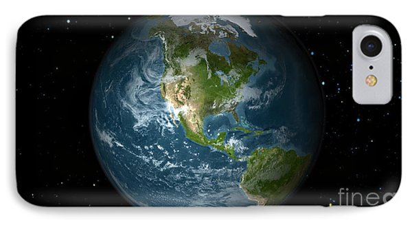 Full Earth View Showing North America IPhone Case by Stocktrek Images