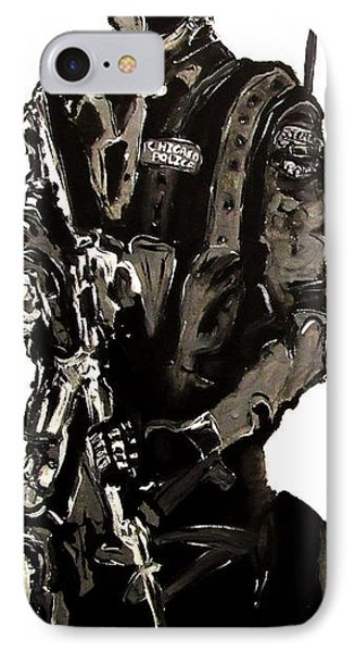 Full Length Figure Portrait Of Swat Team Leader Alpha Chicago Police In Full Uniform With War Gun IPhone Case