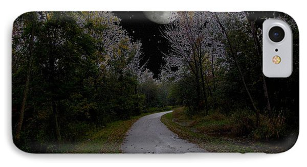 Full Moon Over Forest Trail IPhone Case by Cedric Hampton