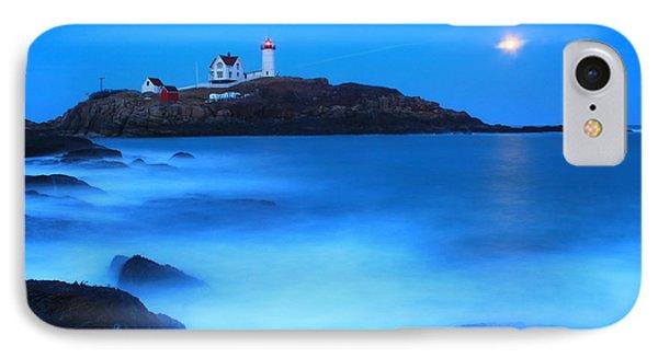 Full Moon Surf Cape Neddick Nubble Lighthouse Phone Case by John Burk
