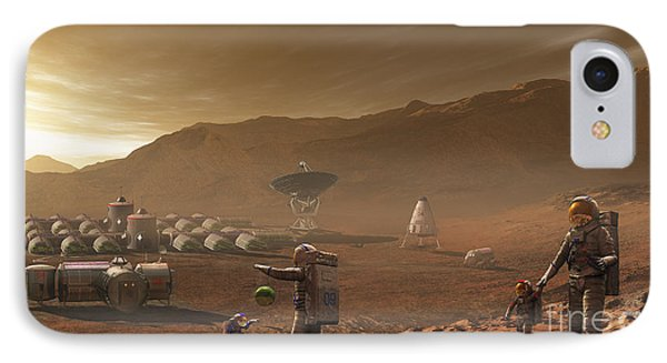 Future Mars Colonists Playing IPhone Case by Steven Hobbs