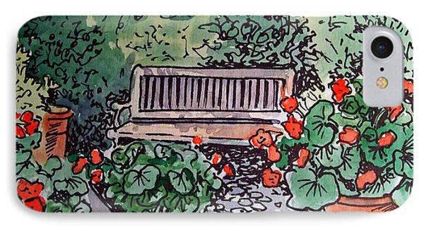 Garden Bench Sketchbook Project Down My Street Phone Case by Irina Sztukowski