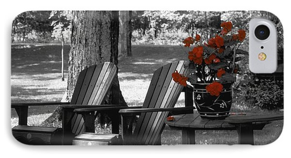 Garden Chairs With Red Flowers In A Pot Phone Case by David Chapman
