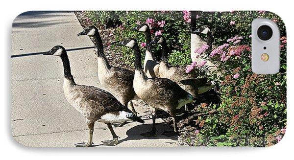 Garden Geese Parade Phone Case by Susan Herber