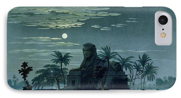 Garden Scene With The Sphinx In Moonlight Phone Case by KF Schinkel