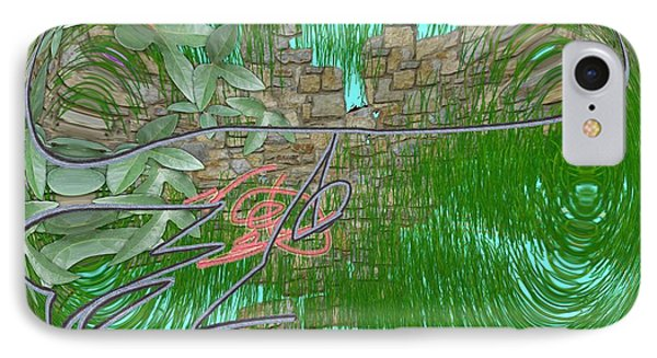 IPhone Case featuring the digital art Garden Wall by George Pedro