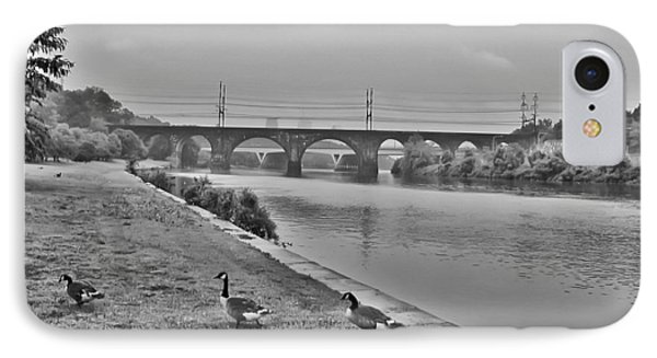 Geese Along The Schuylkill River Phone Case by Bill Cannon