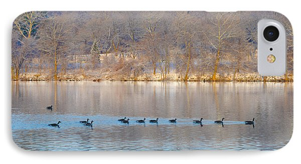 Geese In The Schuylkill River Phone Case by Bill Cannon