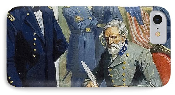 General Ulysses Grant Accepting The Surrender Of General Lee At Appomattox  IPhone Case by Severino Baraldi