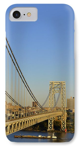 George Washington Bridge And Boat IPhone Case by Zawhaus Photography