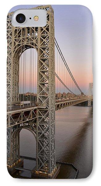 George Washington Bridge At Sunset IPhone Case by Zawhaus Photography