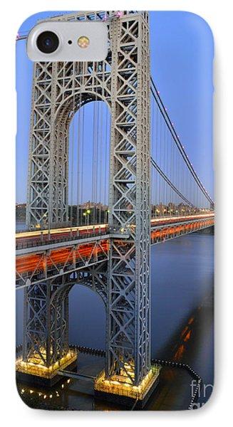 George Washington Bridge At Twilight IPhone Case by Zawhaus Photography