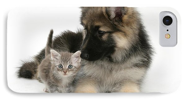 German Shepherd Dog Pup With A Tabby Phone Case by Mark Taylor
