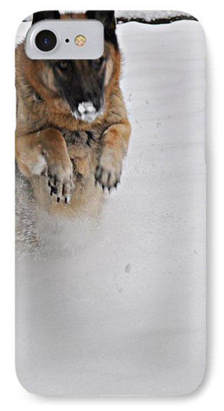 German Shepherd In The Snow 2 IPhone Case by Tanya  Searcy
