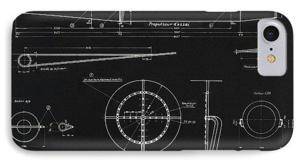 German Wwii Ramjet Engine Blueprint IPhone Case by Detlev Van Ravenswaay