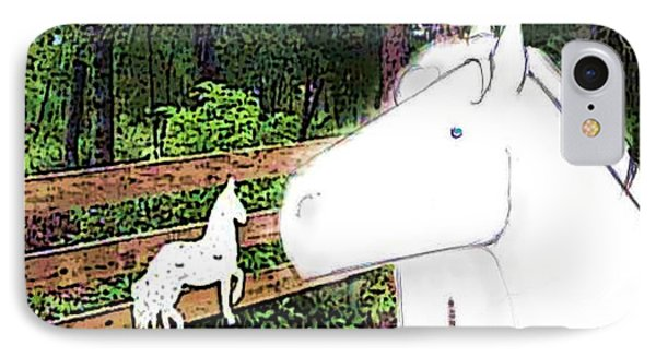 IPhone Case featuring the drawing Ghost Horse by George Pedro