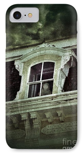 Ghostly Girl In Upstairs Window Phone Case by Jill Battaglia