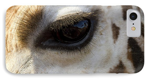 Giraffe Eye IPhone Case by Carrie Cranwill