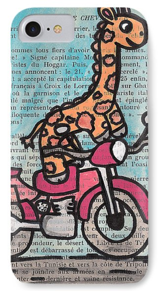 Giraffe On A Motorcycle Phone Case by Jera Sky