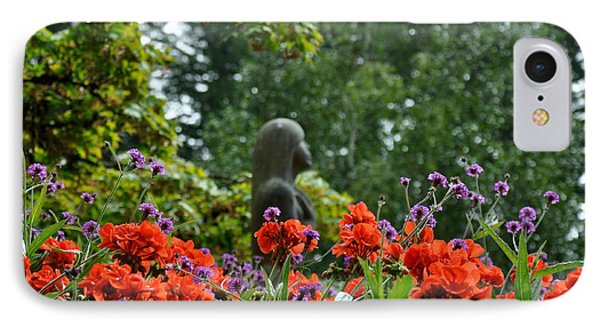 IPhone Case featuring the photograph Girl Behind Red Geraniums by Tanya  Searcy