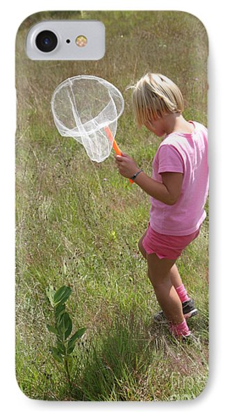 Girl Collecting Insects In A Meadow Phone Case by Ted Kinsman